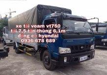 Bán xe tải Veam VT750 thùng mui bạt dài 6m, động cơ Hyundai